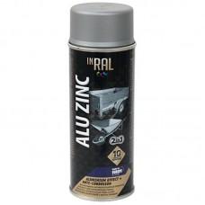 Эмаль аэрозольная INRAL ALU ZINC 400мл, алюминиевая