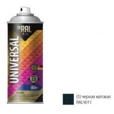 Эмаль аэрозольная INRAL UNIVERSAL 400мл, 04 черная глянцевая RAL9017