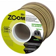 Уплотнитель самоклеящийся ZOOM Classic  D-профиль коричневый, 100м/6шт