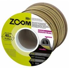 Уплотнитель самоклеящийся промышленный ZOOM Industrial D-профиль 14х12 белый, 40м/6шт