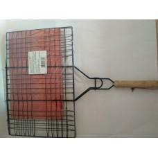 Решетка для мяса антипригарная 225*340 хром/деревян ручка (SK-1016/1) (42шт) /080515