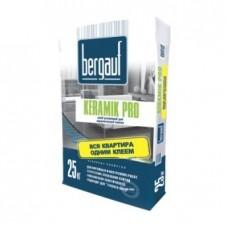 Клей плиточный Keramik Pro, 25 кг усиленный для плитки и керамогранита/56шт/серый BERGAUF