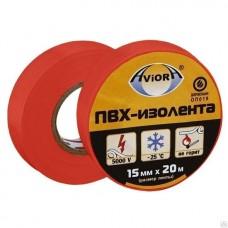 Изолента ПВХ, 15 мм х 20 м, AVIORA (красная)/10шт/200шт/305-057